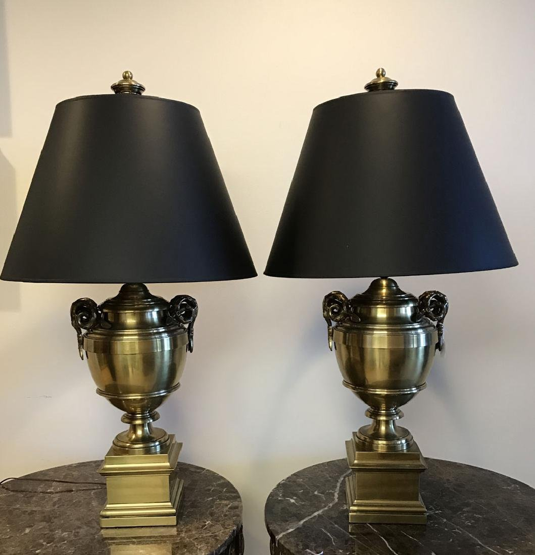 Pair brass urn form lamps each with bamboo form
