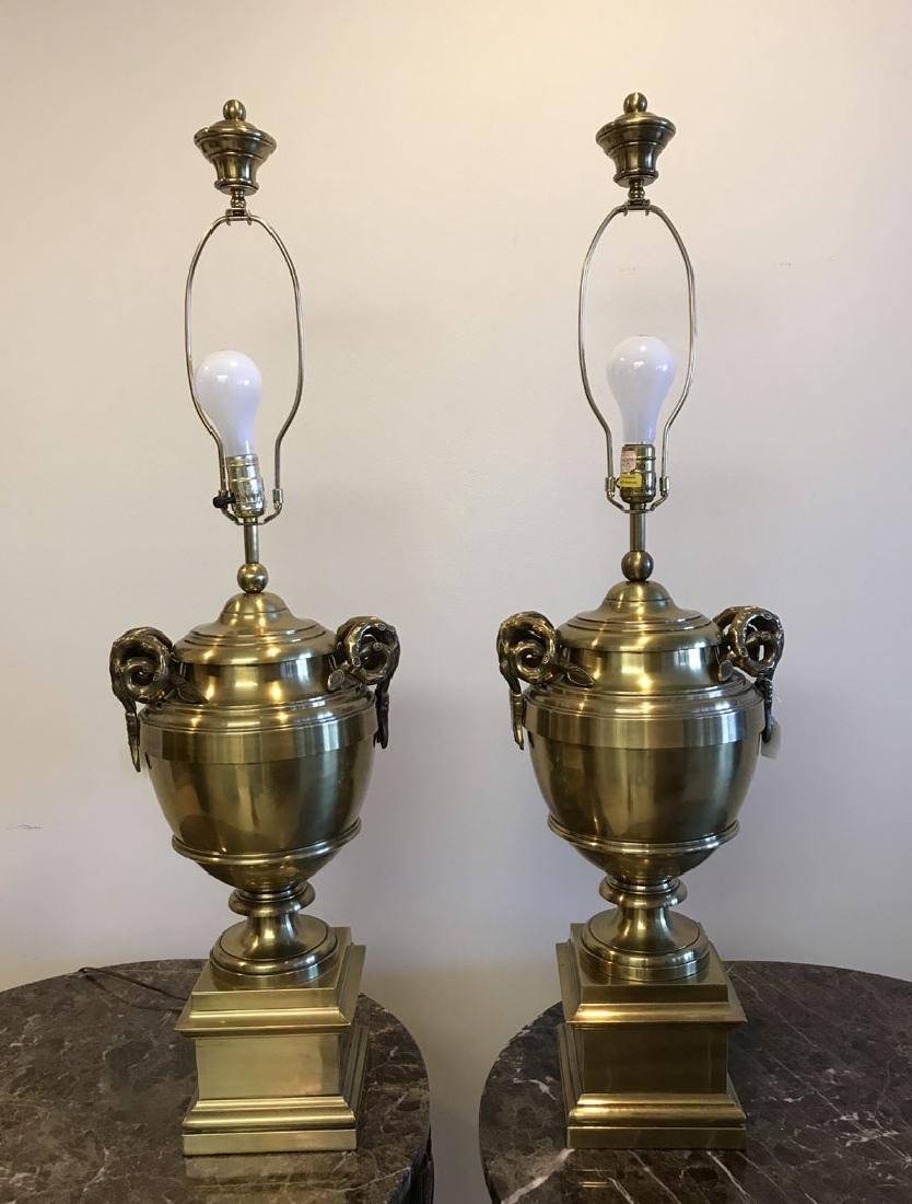 Pair brass urn form lamps each with bamboo form - 8