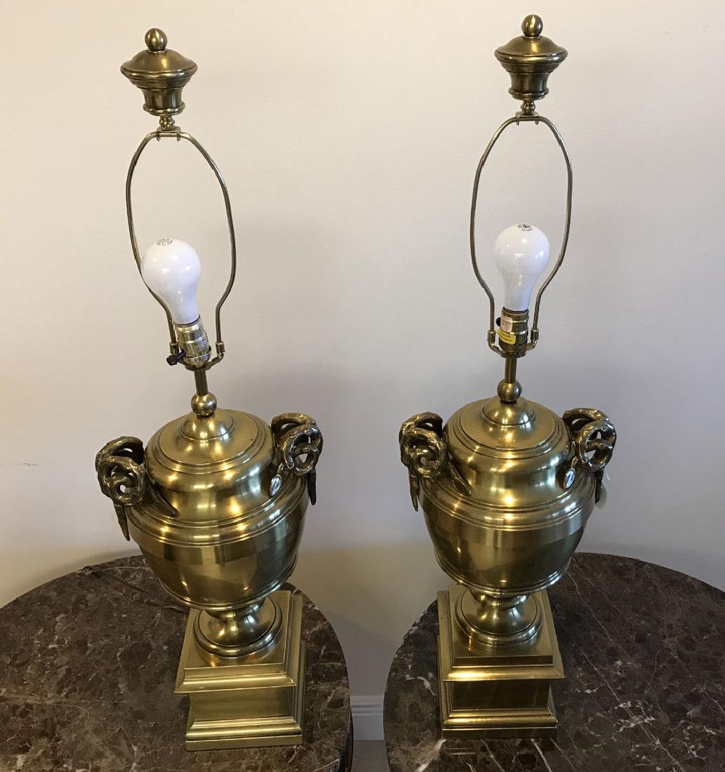 Pair brass urn form lamps each with bamboo form - 9