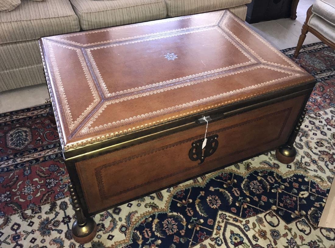 Large Maitland Smith leather and bronze trunk/coffee