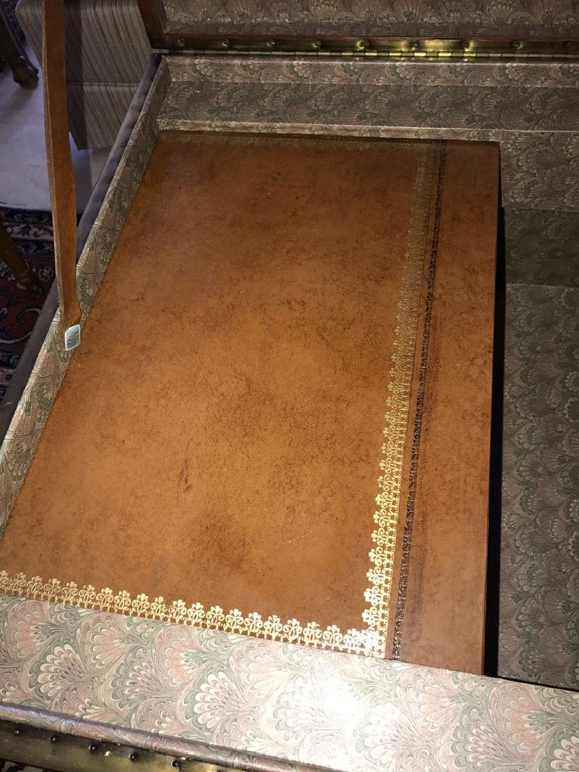 Large Maitland Smith leather and bronze trunk/coffee - 3