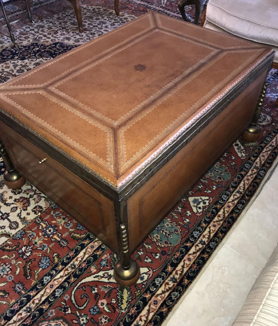 Large Maitland Smith leather and bronze trunk/coffee - 5