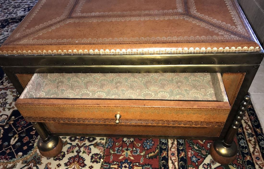Large Maitland Smith leather and bronze trunk/coffee - 7