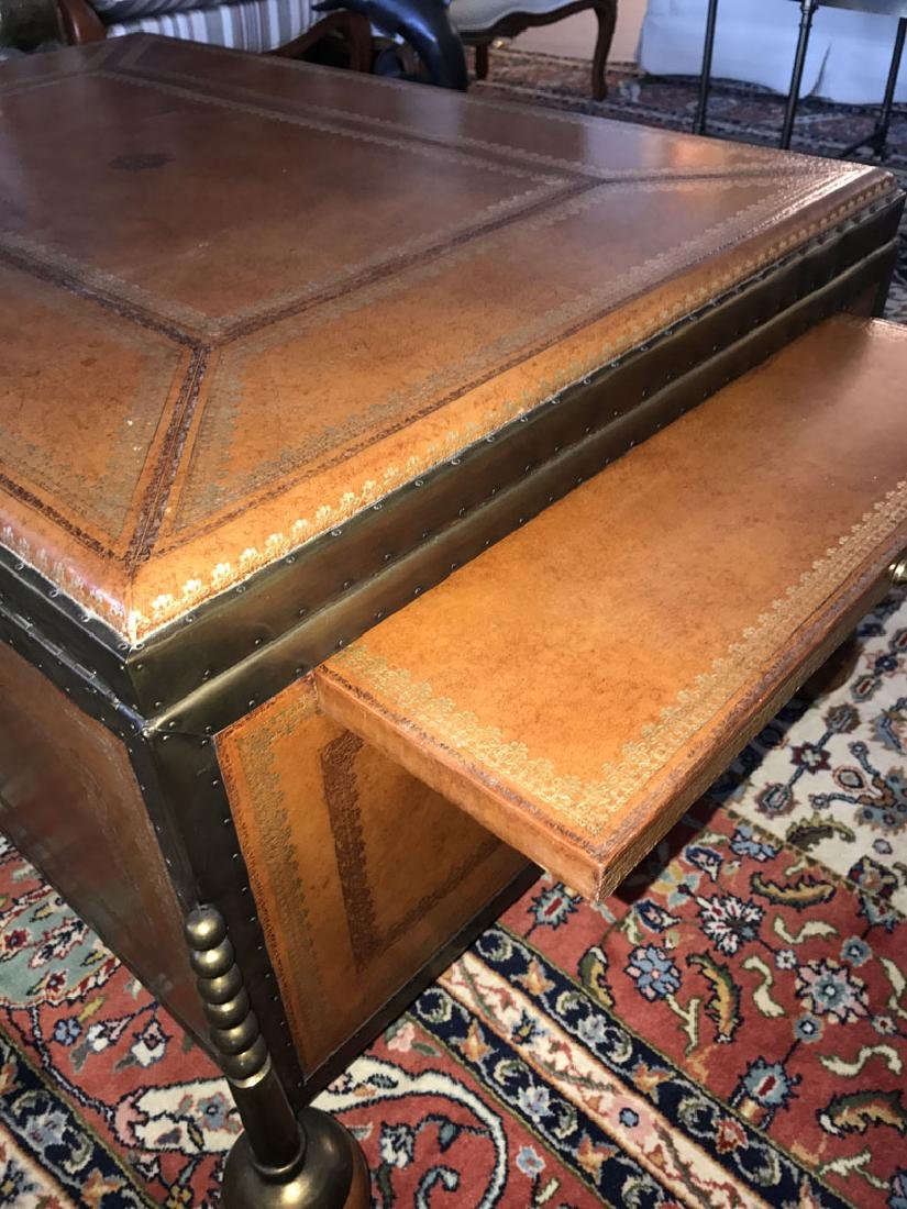 Large Maitland Smith leather and bronze trunk/coffee - 8