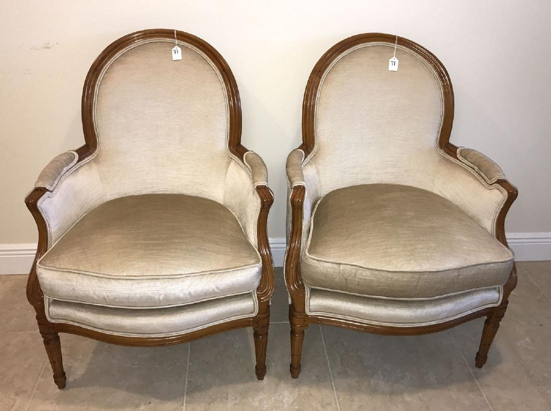Pair Henredon French style upholstered and carved arm - 2