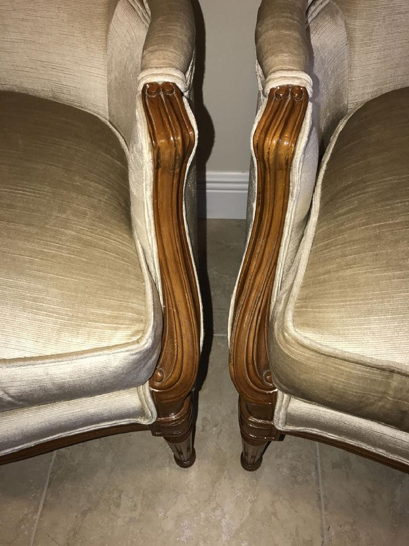 Pair Henredon French style upholstered and carved arm - 4