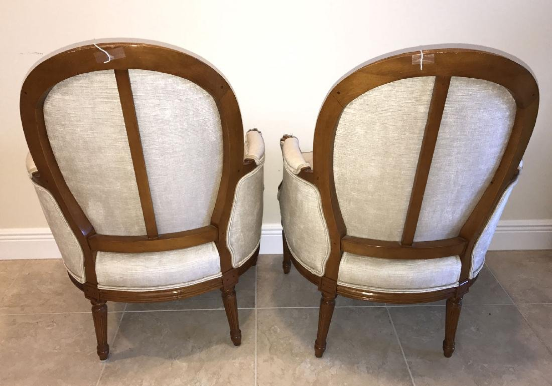 Pair Henredon French style upholstered and carved arm - 6