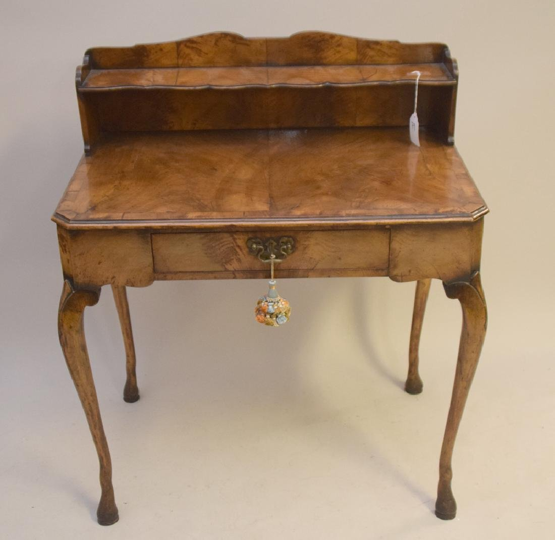 Antique burled walnut writing desk with one drawer, 37