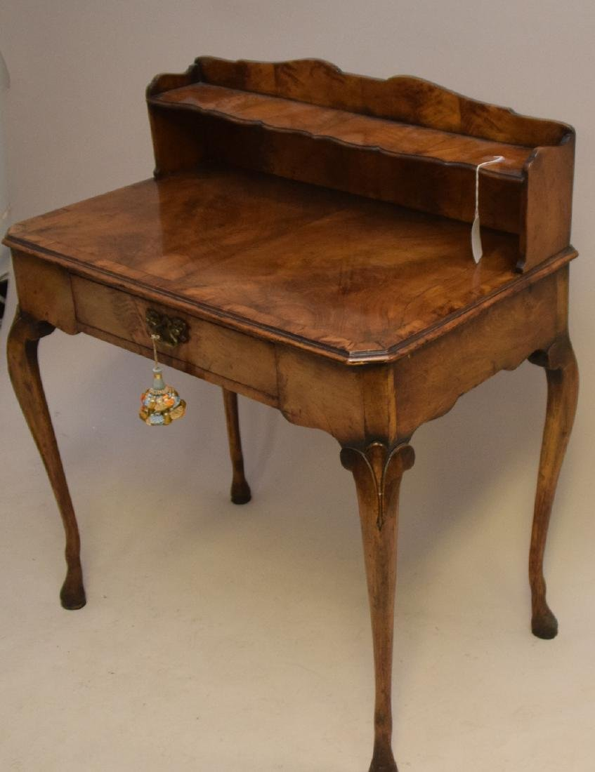 Antique burled walnut writing desk with one drawer, 37 - 2