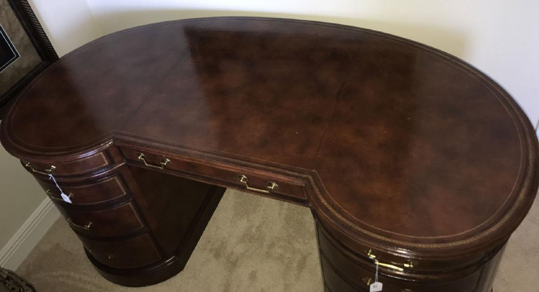 Maitland Smith mahogany & leather kidney form desk with - 2