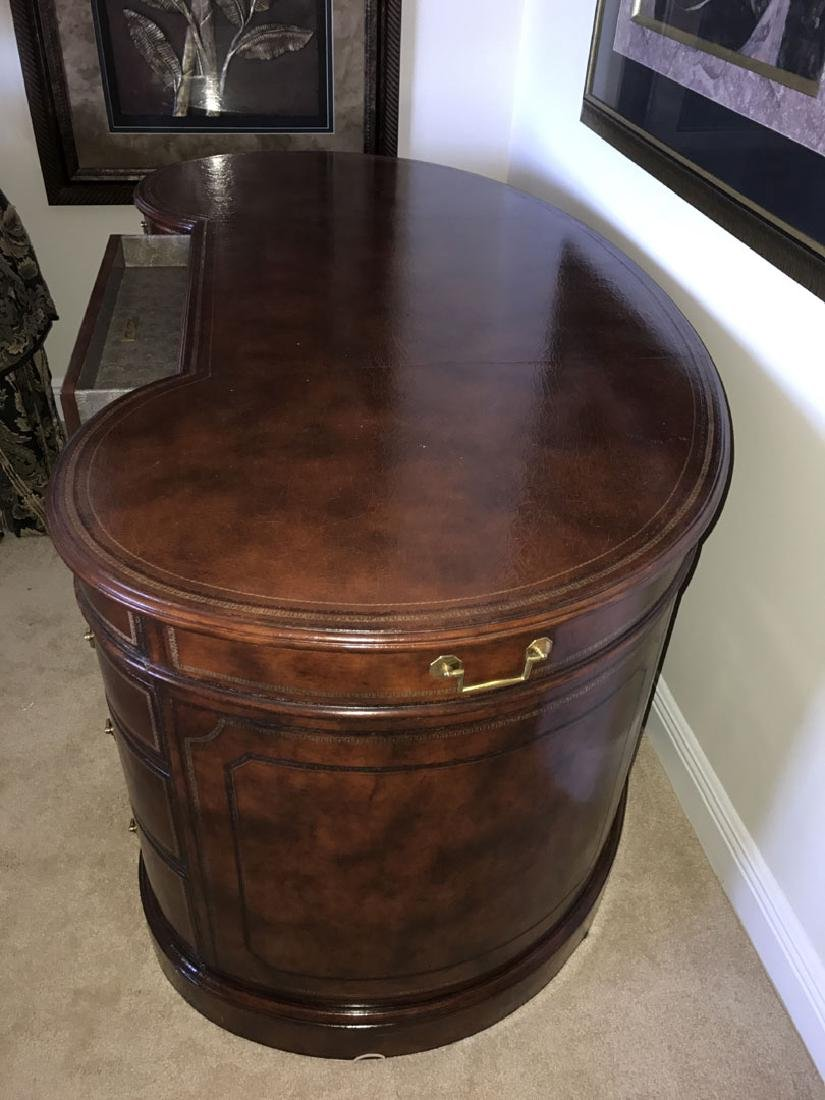 Maitland Smith mahogany & leather kidney form desk with - 7