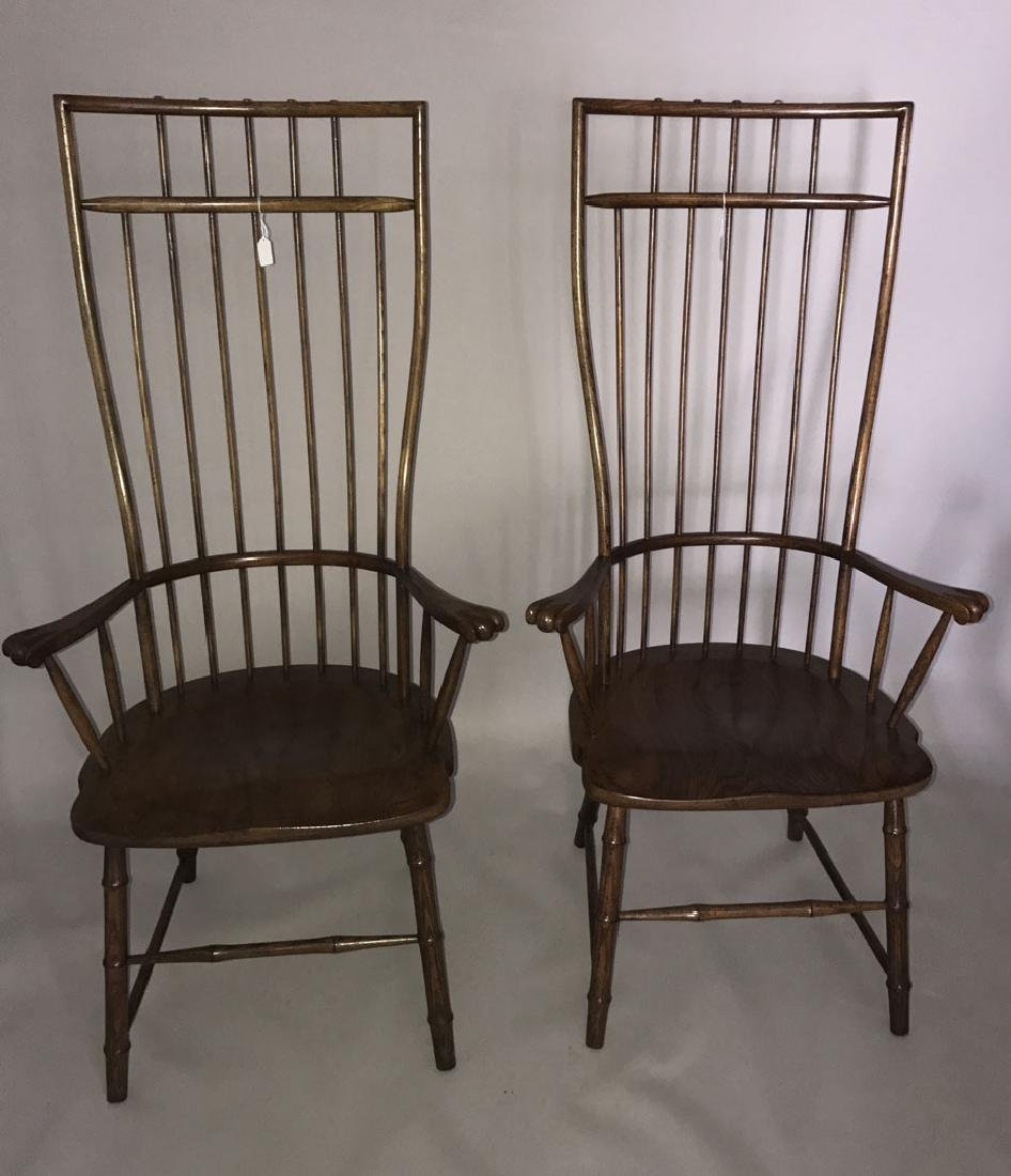 Pair of tall Windsor style wood chairs, 54h x 27w x 19d