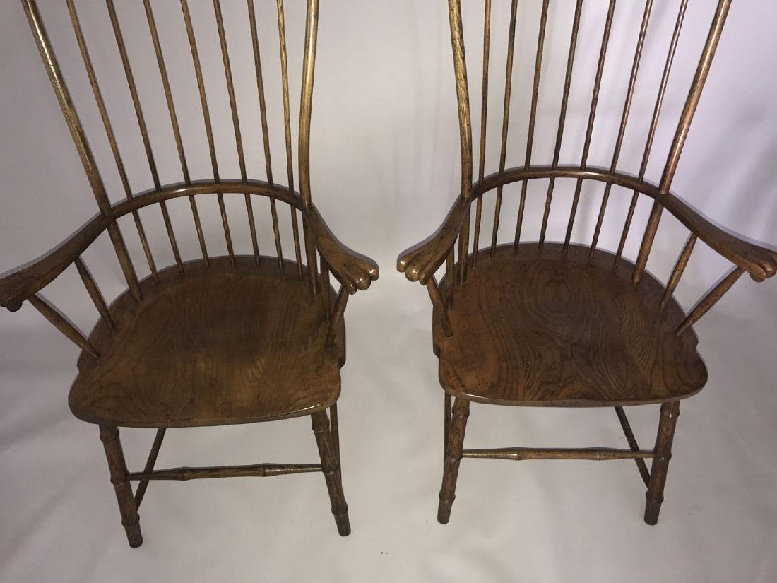 Pair of tall Windsor style wood chairs, 54h x 27w x 19d - 2