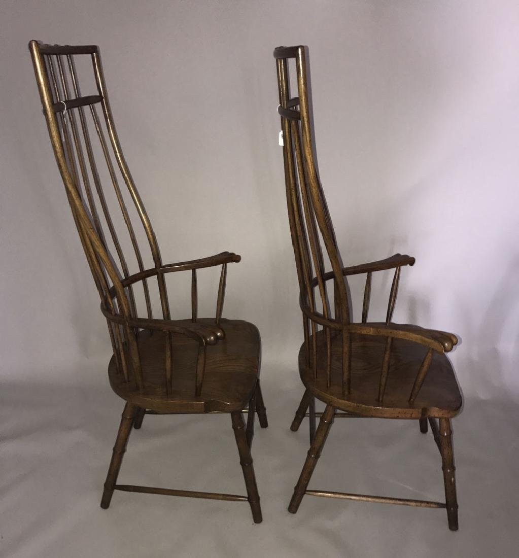 Pair of tall Windsor style wood chairs, 54h x 27w x 19d - 5