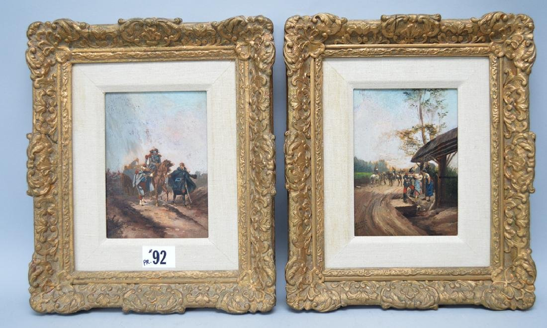 Pair 19th Century European School oil on boards,