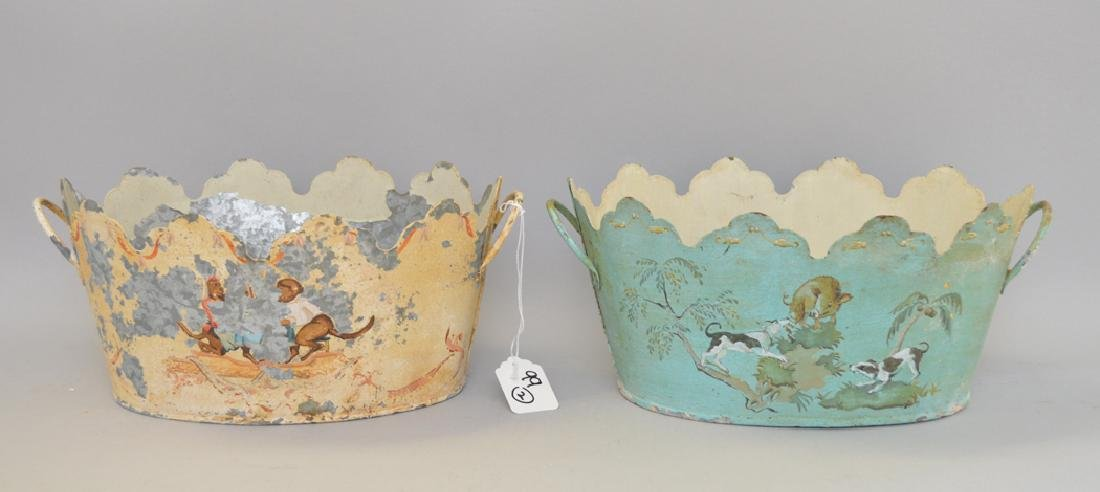 2 French tole planters, original paint and design
