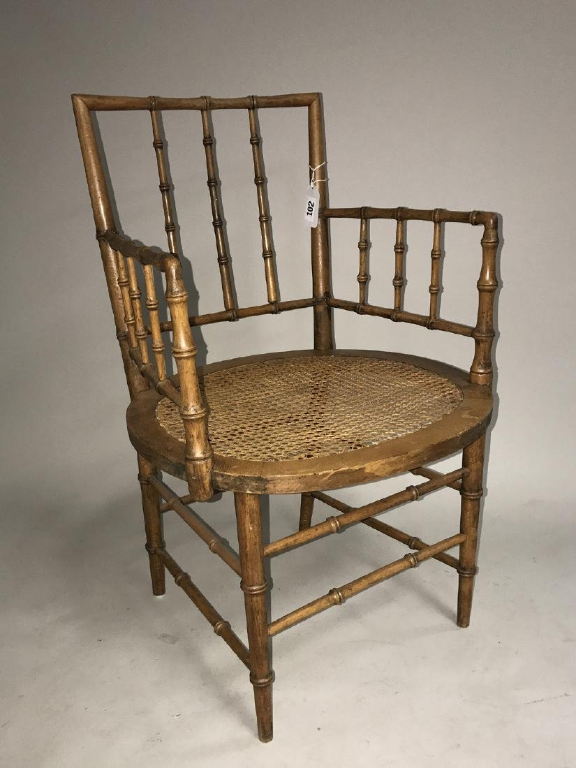Bamboo motif caned arm chair