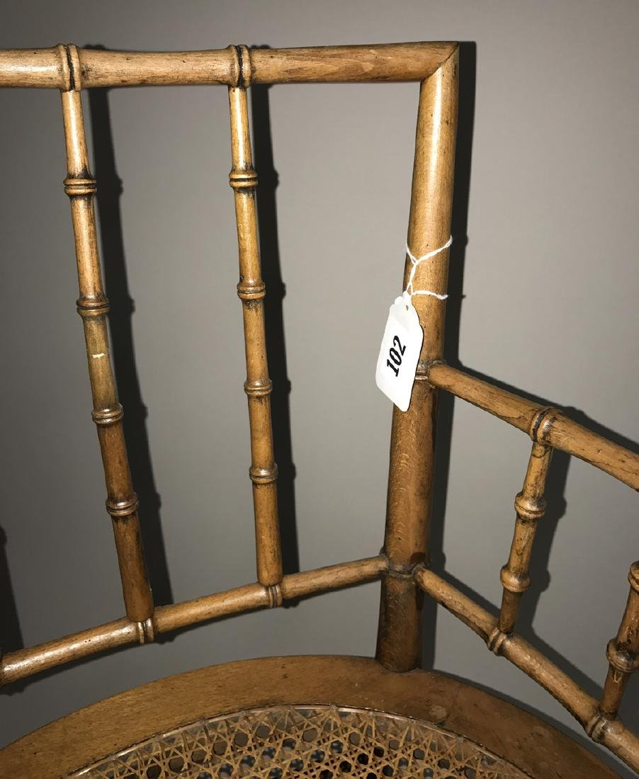 Bamboo motif caned arm chair - 2