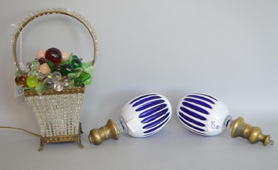 Beaded colored glass basket lamp and 2 cobalt & white