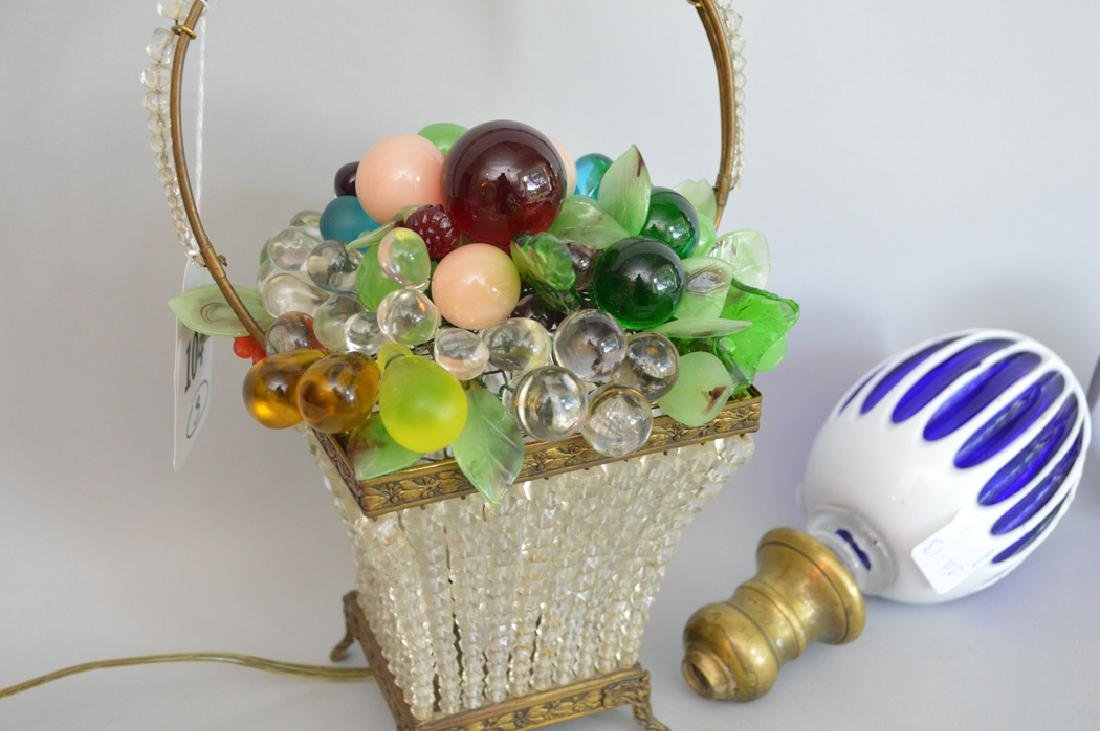 Beaded colored glass basket lamp and 2 cobalt & white - 2