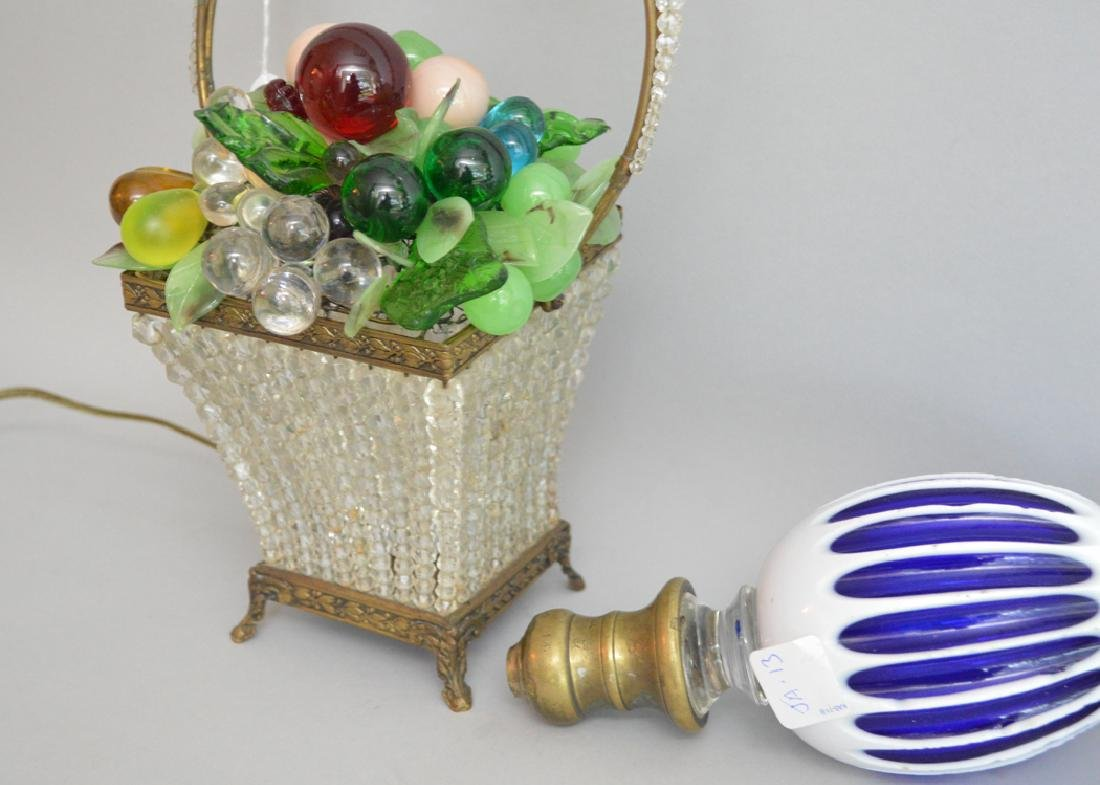 Beaded colored glass basket lamp and 2 cobalt & white - 3