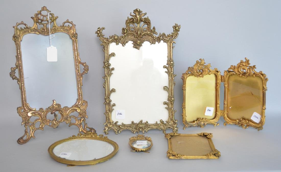 Collection 6 Victorian brass picture frames assorted