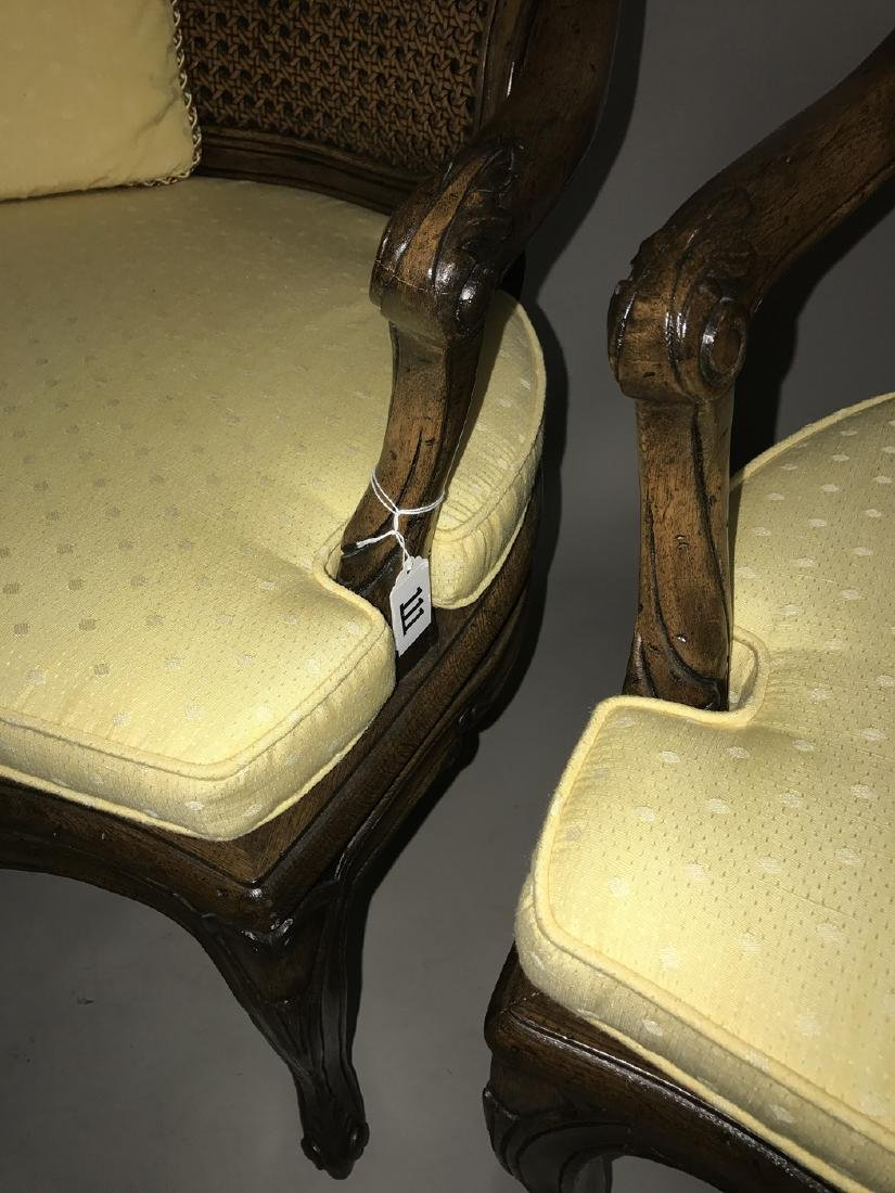 Pair walnut frame French caned arm chairs - 2