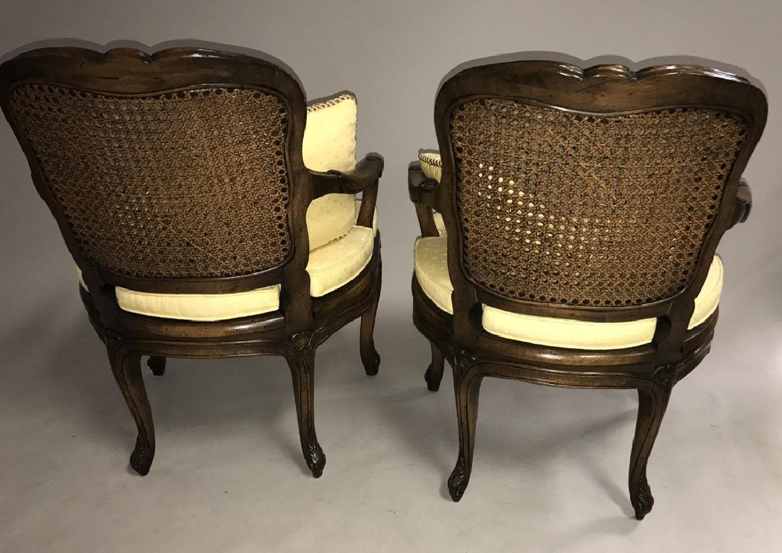 Pair walnut frame French caned arm chairs - 4