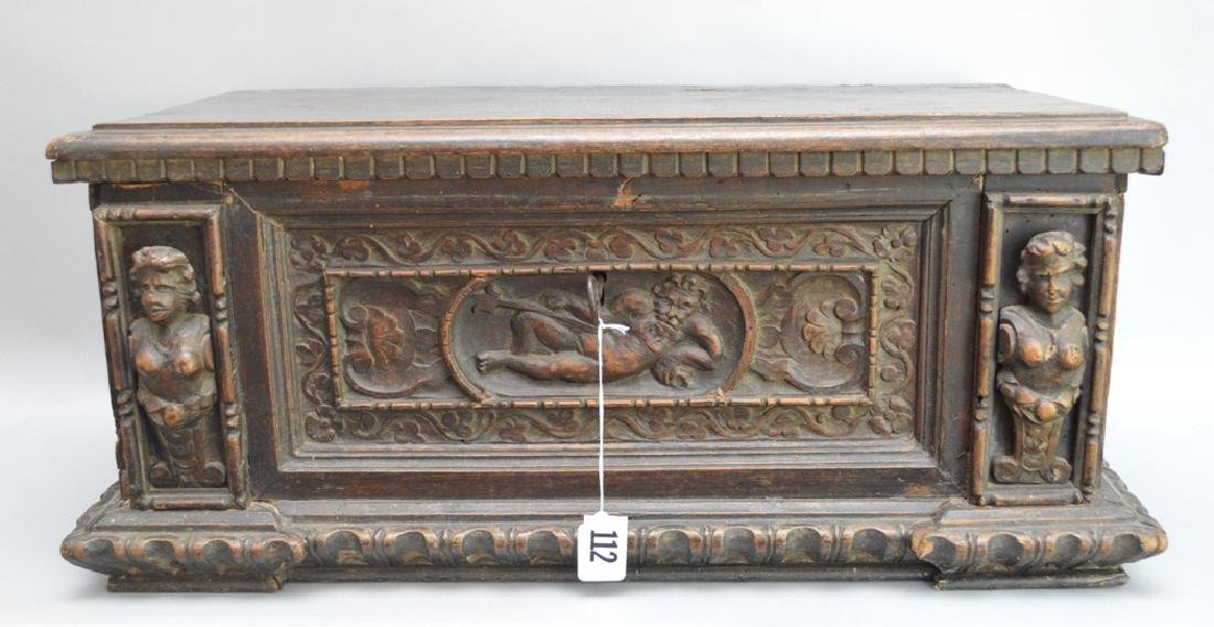 Continental 19th c. carved casket for jewels or