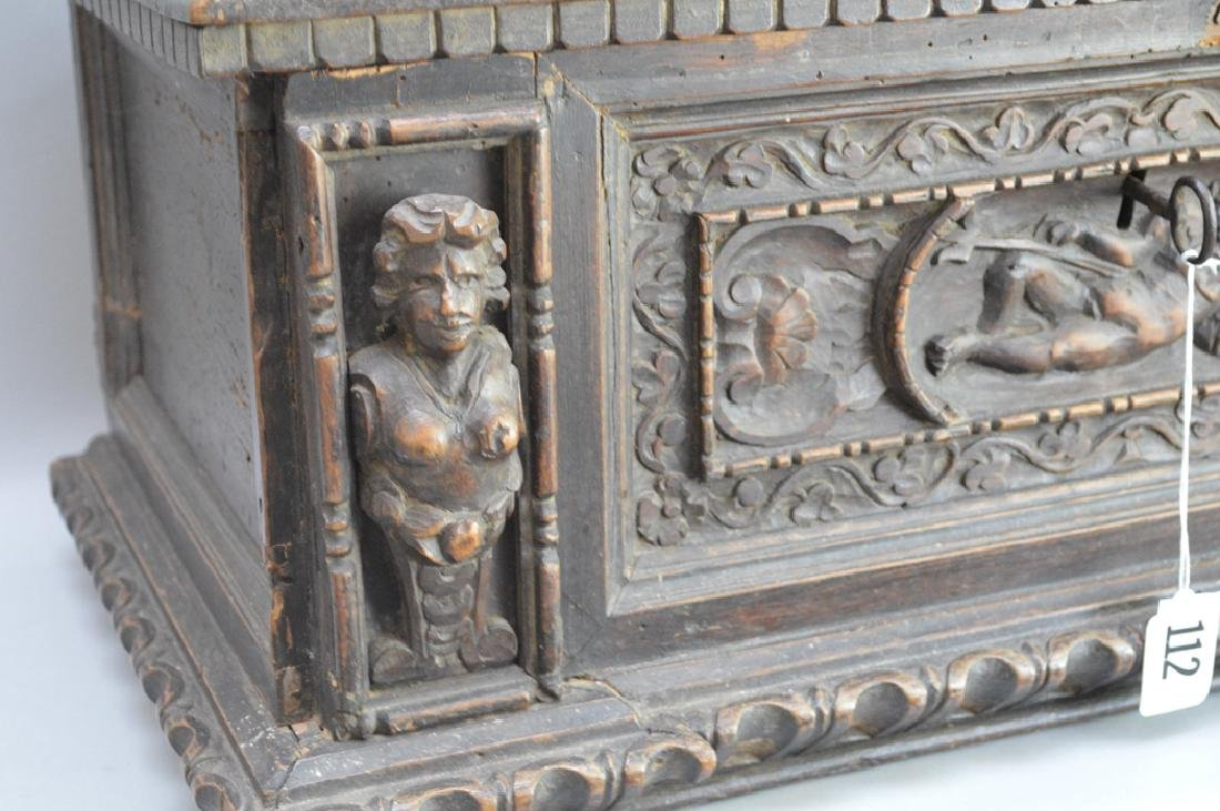 Continental 19th c. carved casket for jewels or - 2