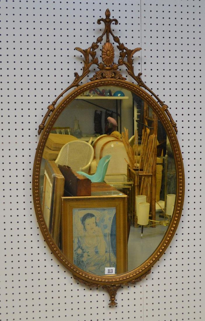 Oval giltwood Adams style frame, 45h