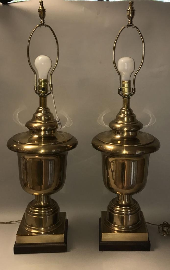 Pair oversized brass urn form lamps