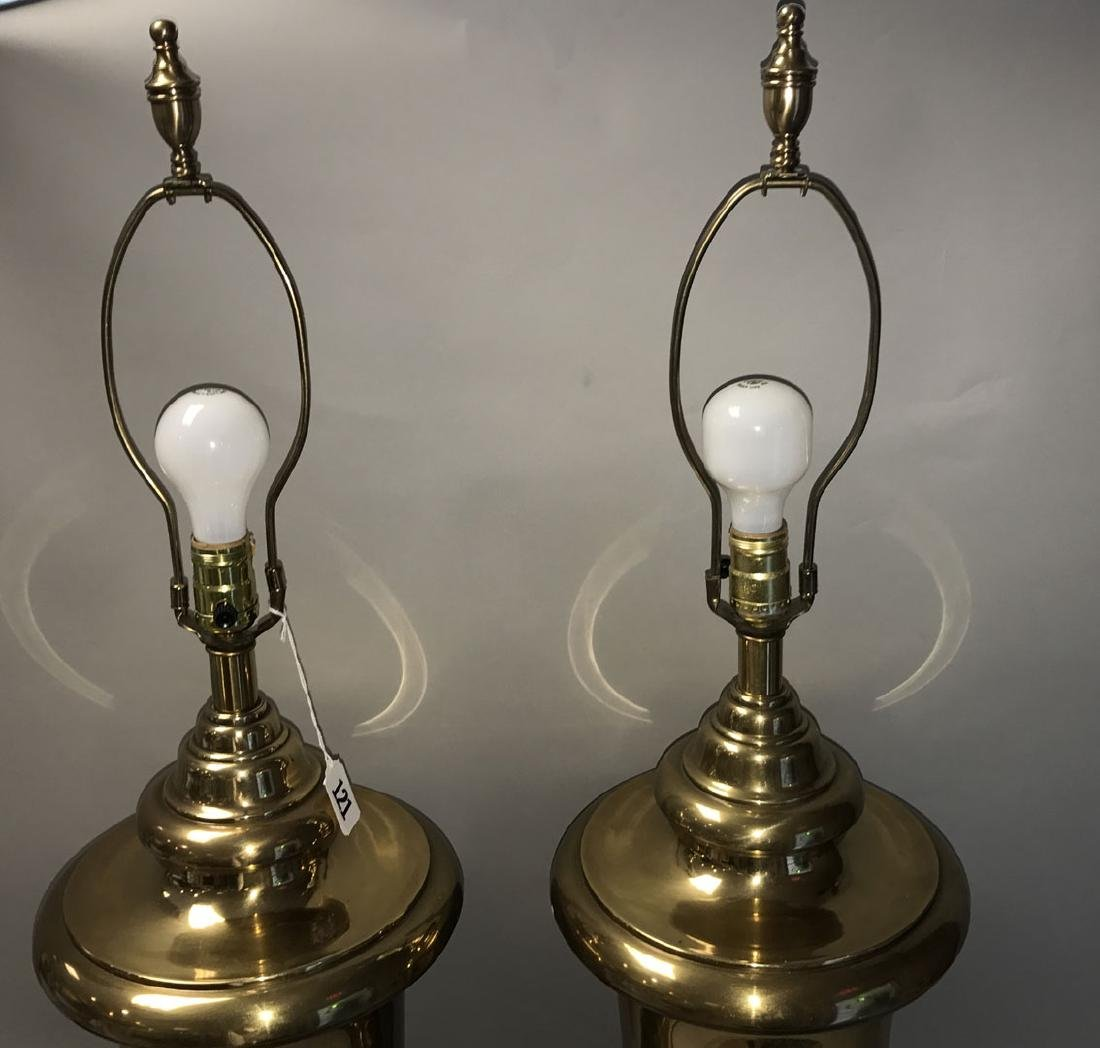 Pair oversized brass urn form lamps - 2