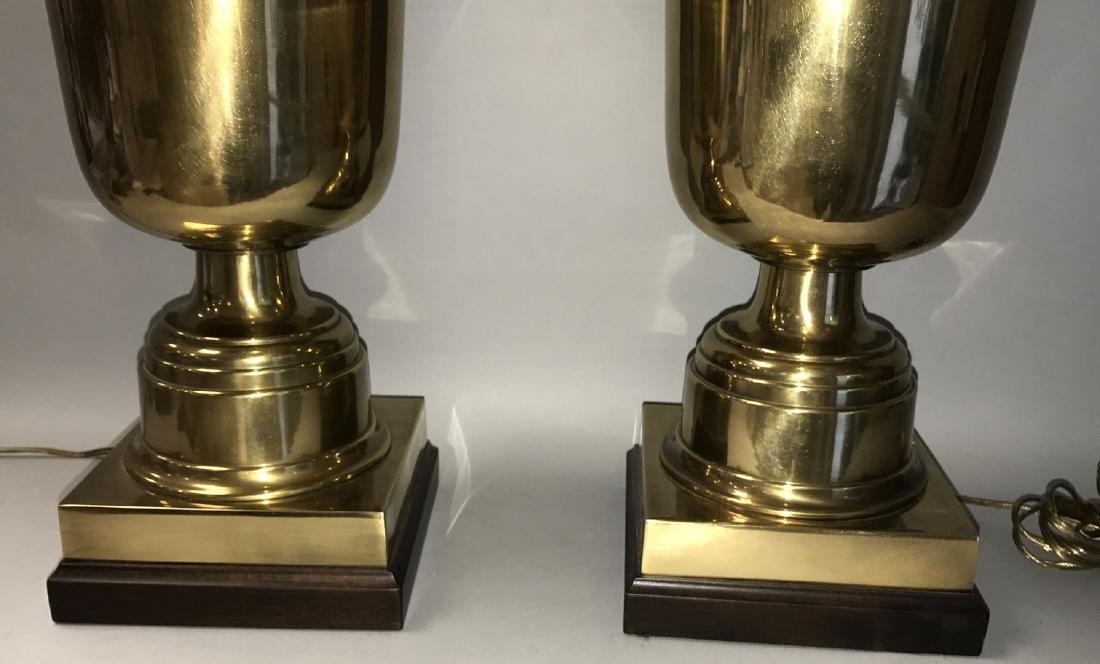 Pair oversized brass urn form lamps - 3