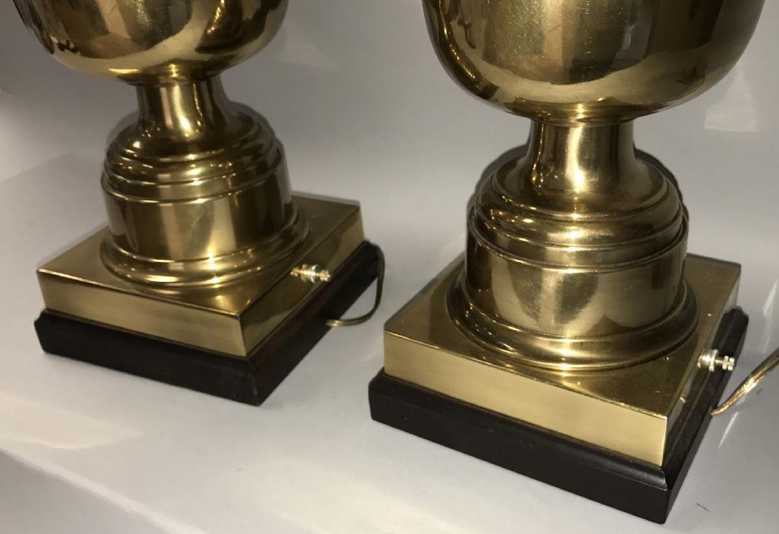 Pair oversized brass urn form lamps - 4