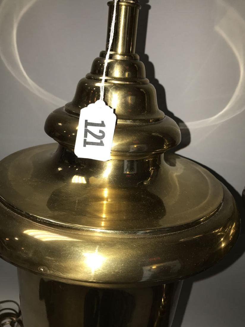 Pair oversized brass urn form lamps - 5