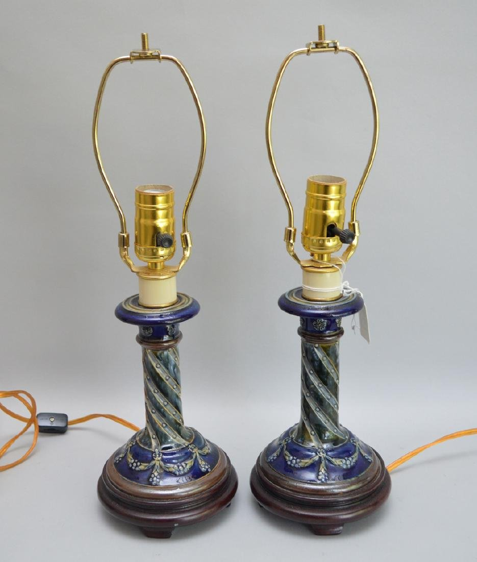 Pair Doulton Lambeth candlestick form lamps