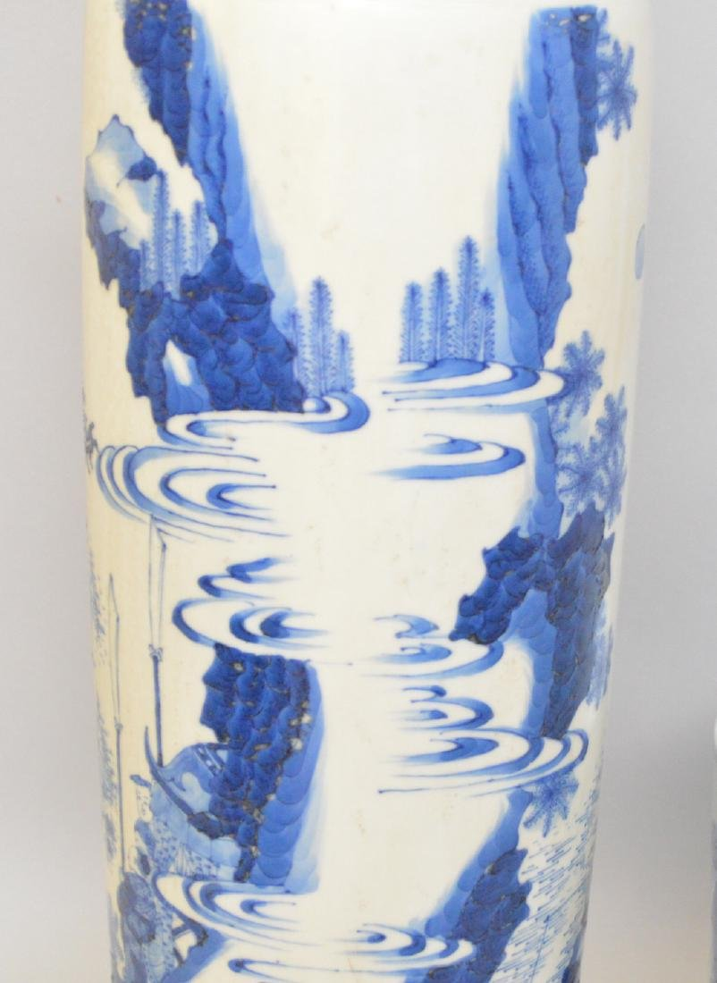 2 Chinese Porcelain Articles.  Vase with blue landscape - 2