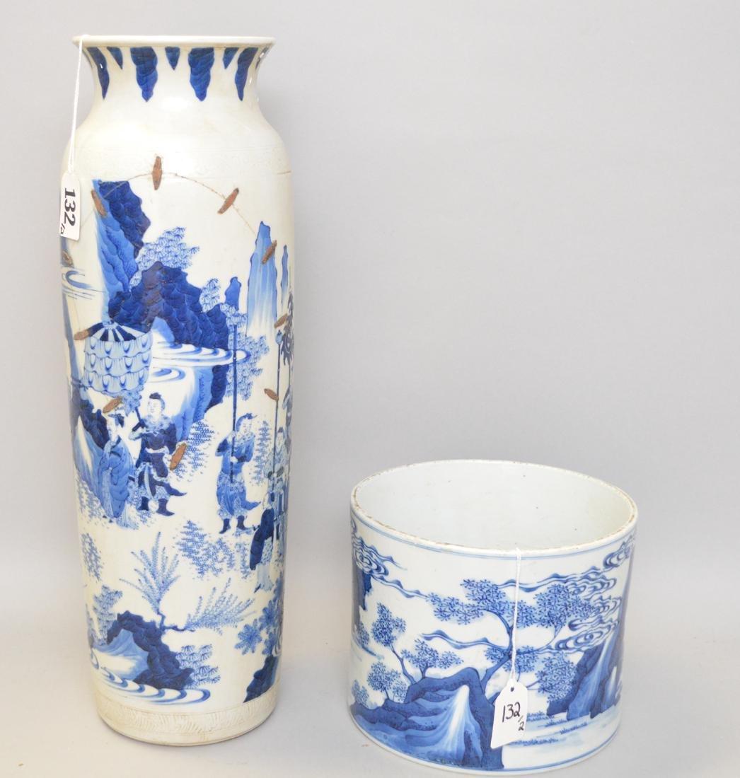2 Chinese Porcelain Articles.  Vase with blue landscape - 3