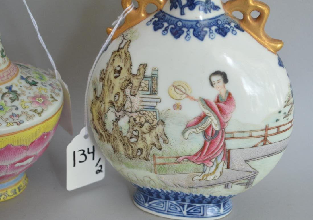2 Chinese Porcelain Vases.  1 Vase With Orange - 5