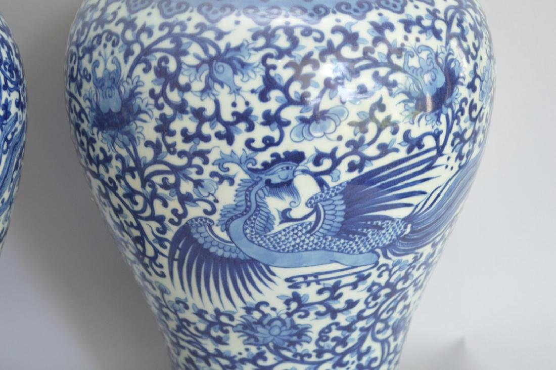 Pair Chinese Blue & White Porcelain Vases. Ht. 11 5/8 - 3