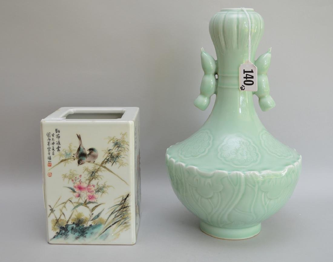 2 Pieces Chinese Porcelain.  1 Square Vase with hand