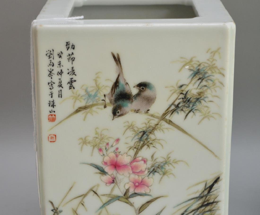 2 Pieces Chinese Porcelain.  1 Square Vase with hand - 2
