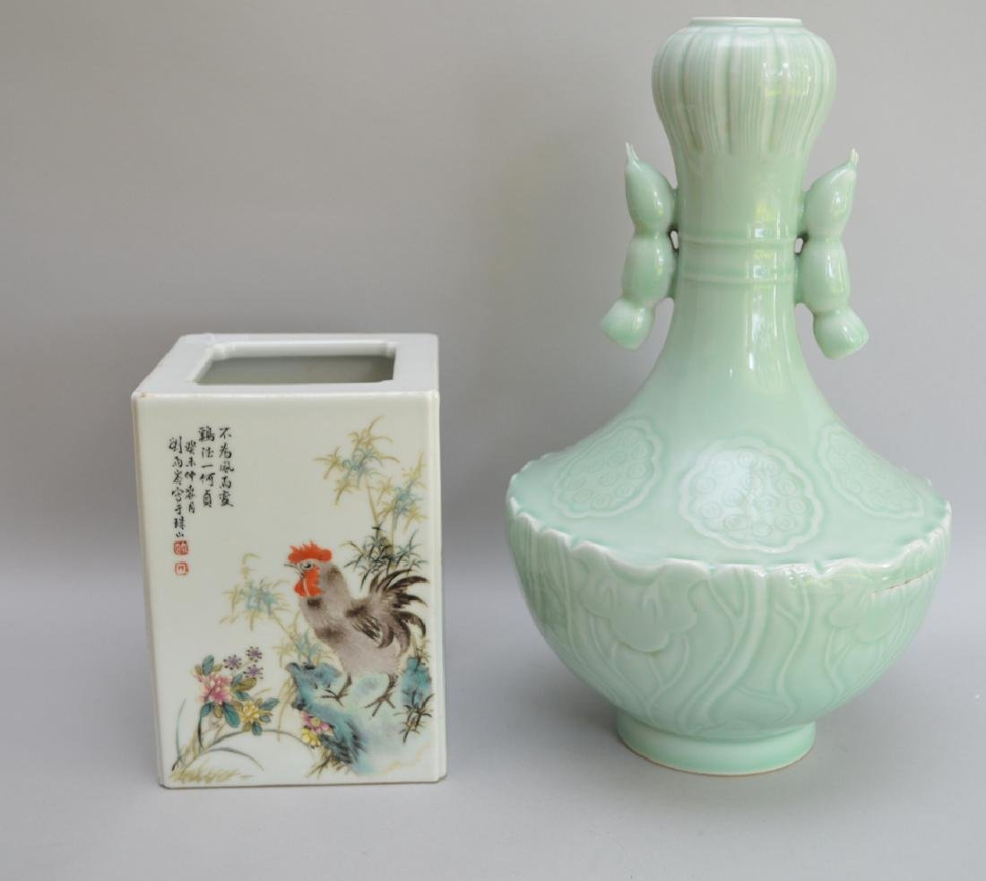 2 Pieces Chinese Porcelain.  1 Square Vase with hand - 3