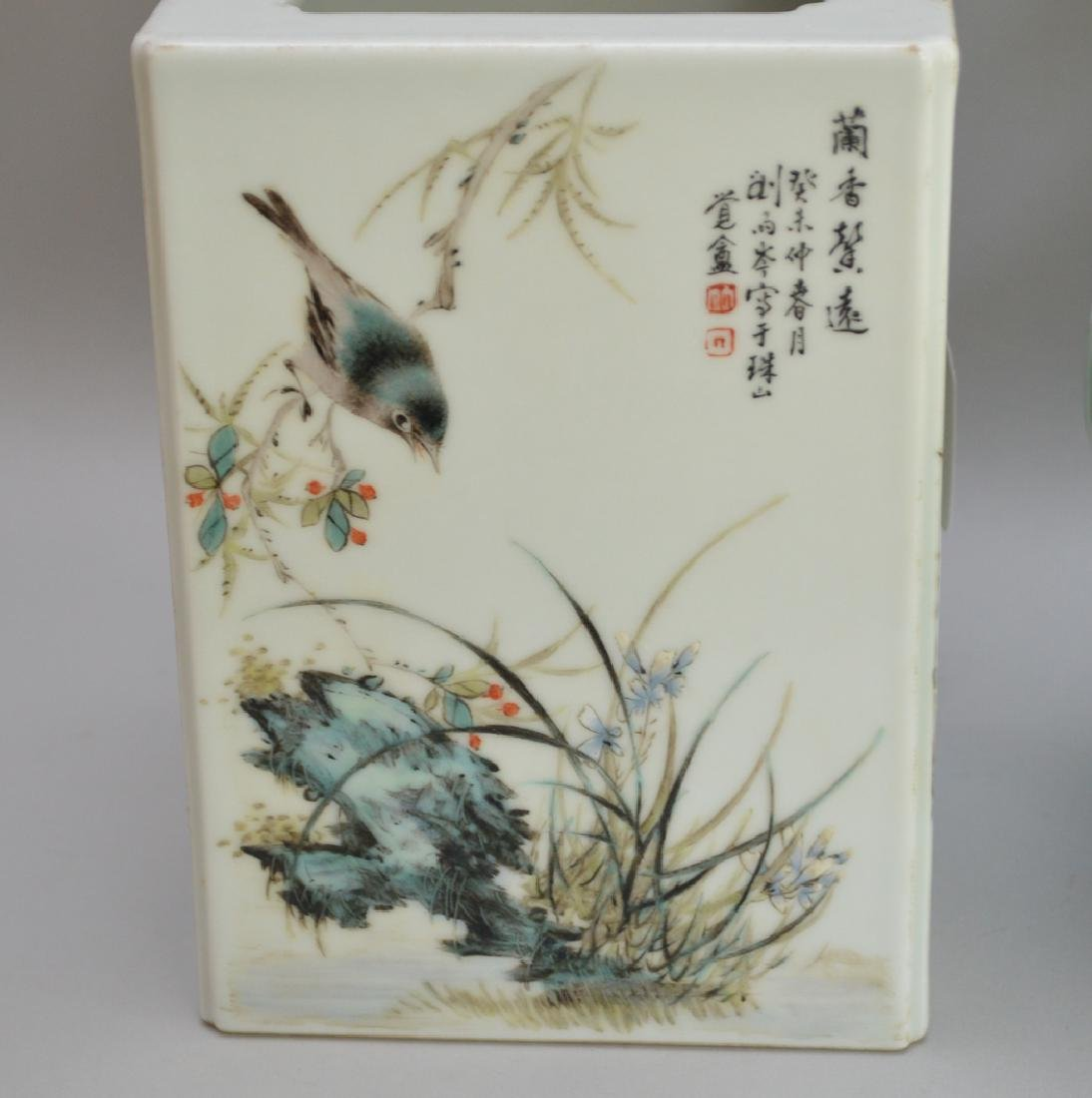 2 Pieces Chinese Porcelain.  1 Square Vase with hand - 5
