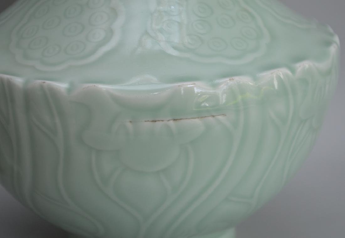 2 Pieces Chinese Porcelain.  1 Square Vase with hand - 6