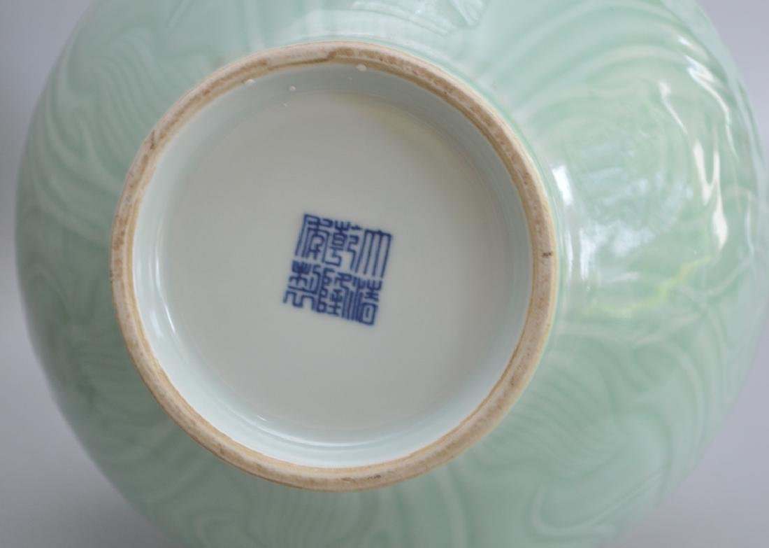 2 Pieces Chinese Porcelain.  1 Square Vase with hand - 7