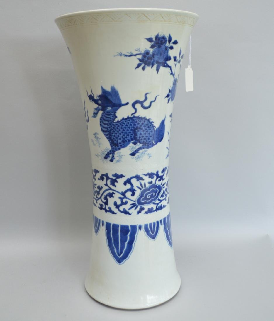 Large Chinese Porcelain Vase with blue floral, bird and