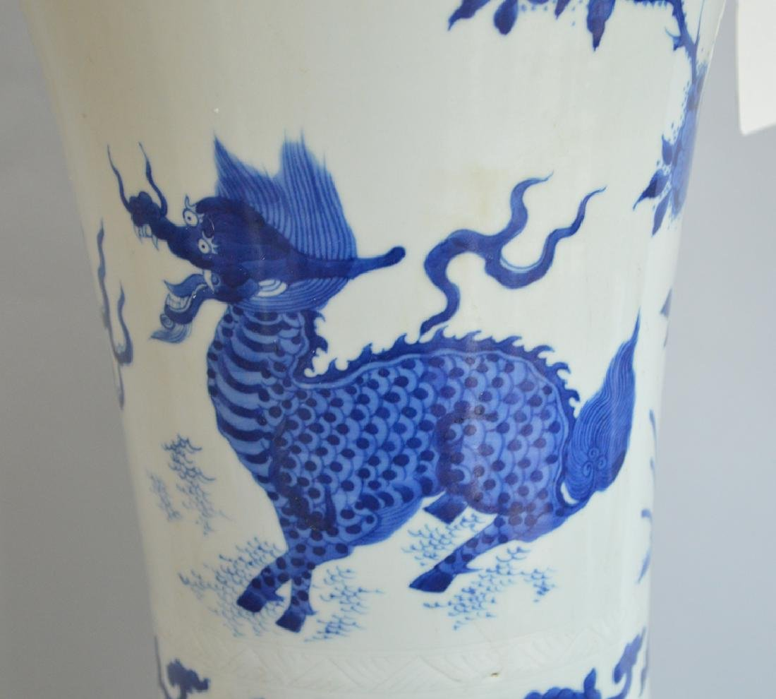 Large Chinese Porcelain Vase with blue floral, bird and - 2
