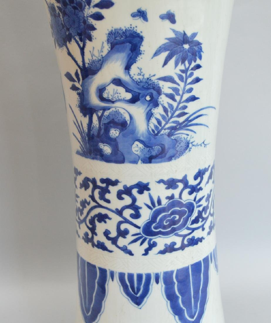 Large Chinese Porcelain Vase with blue floral, bird and - 4